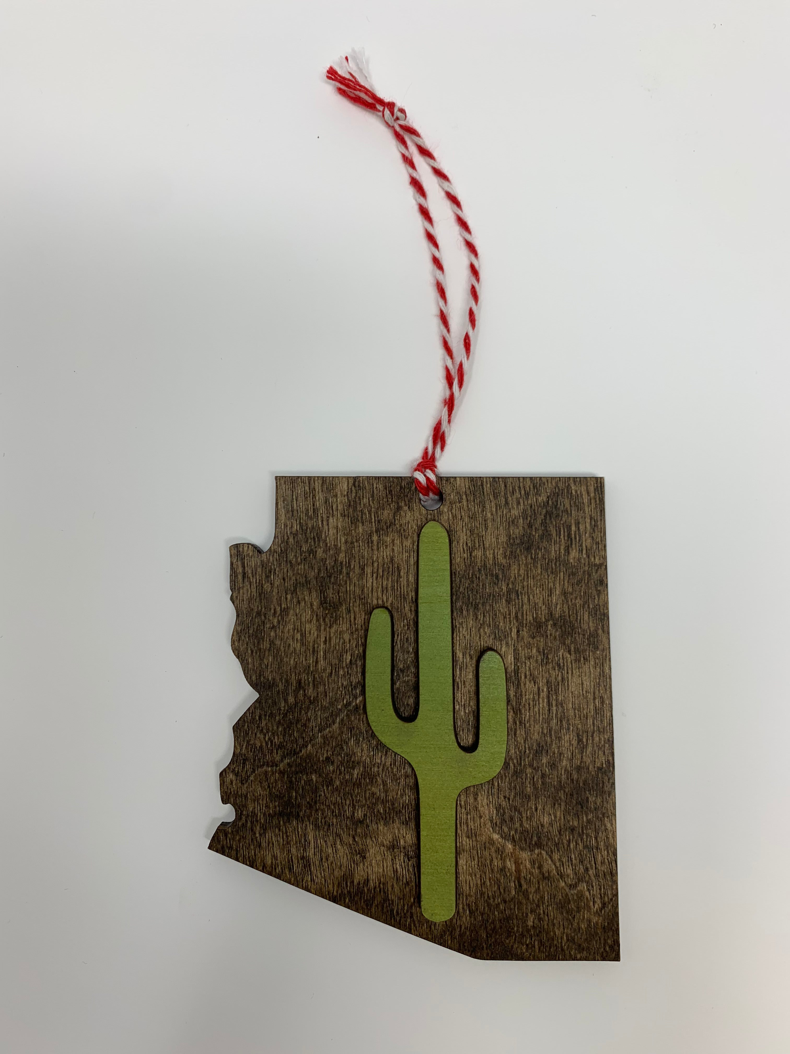 Arizona Cactus Ornament | Stained Wood
