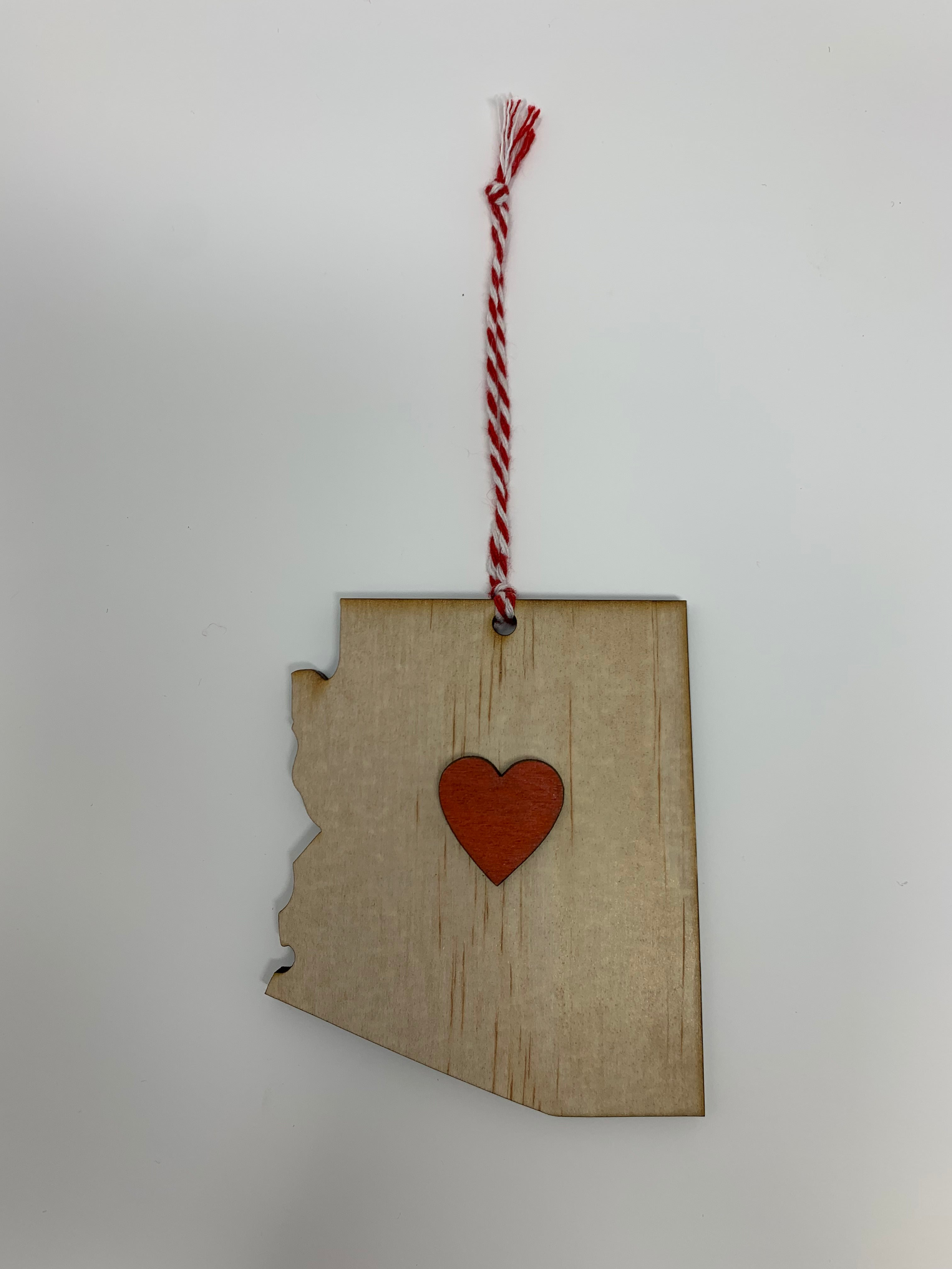 Arizona Heart Ornament | Natural Wood