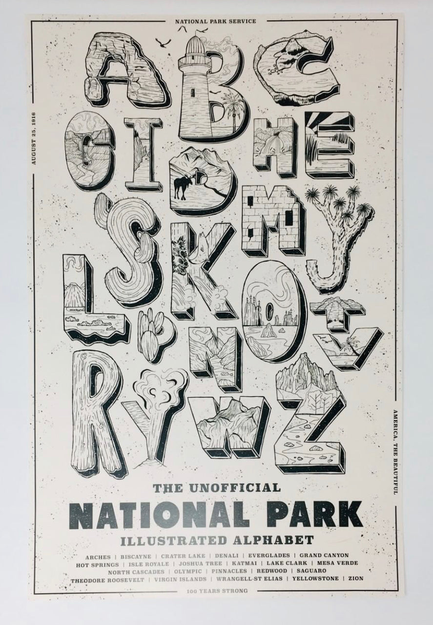 National Park Alphabet Print 11 x 17