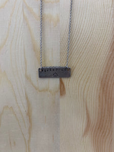 Adventure Bar Stamped Necklace | Silver
