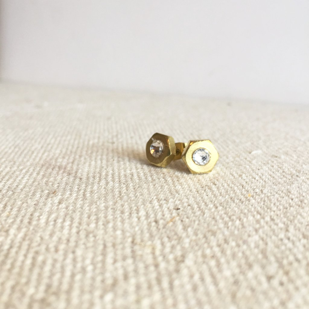 Swarovski Industrial Hex Nut Earrings | Gold