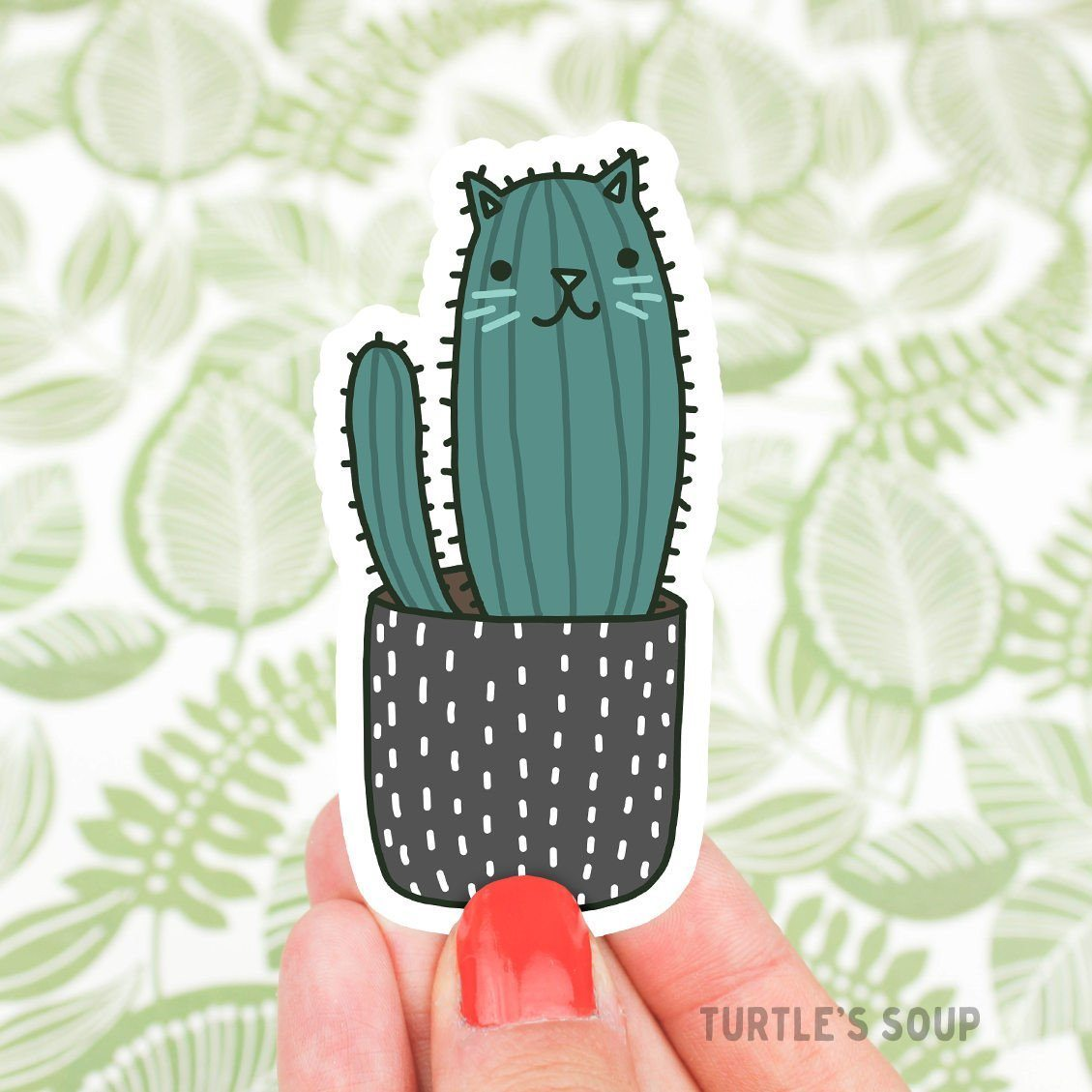 Cholla Cactus Cat Sticker