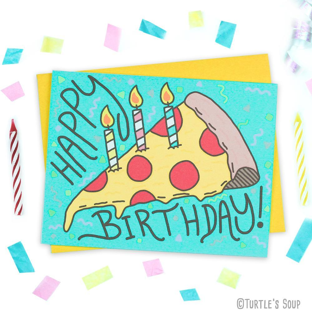 Pizzacake Happy Birthday Card