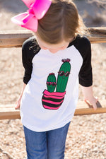 Cute Cactus Kids Baseball Tee
