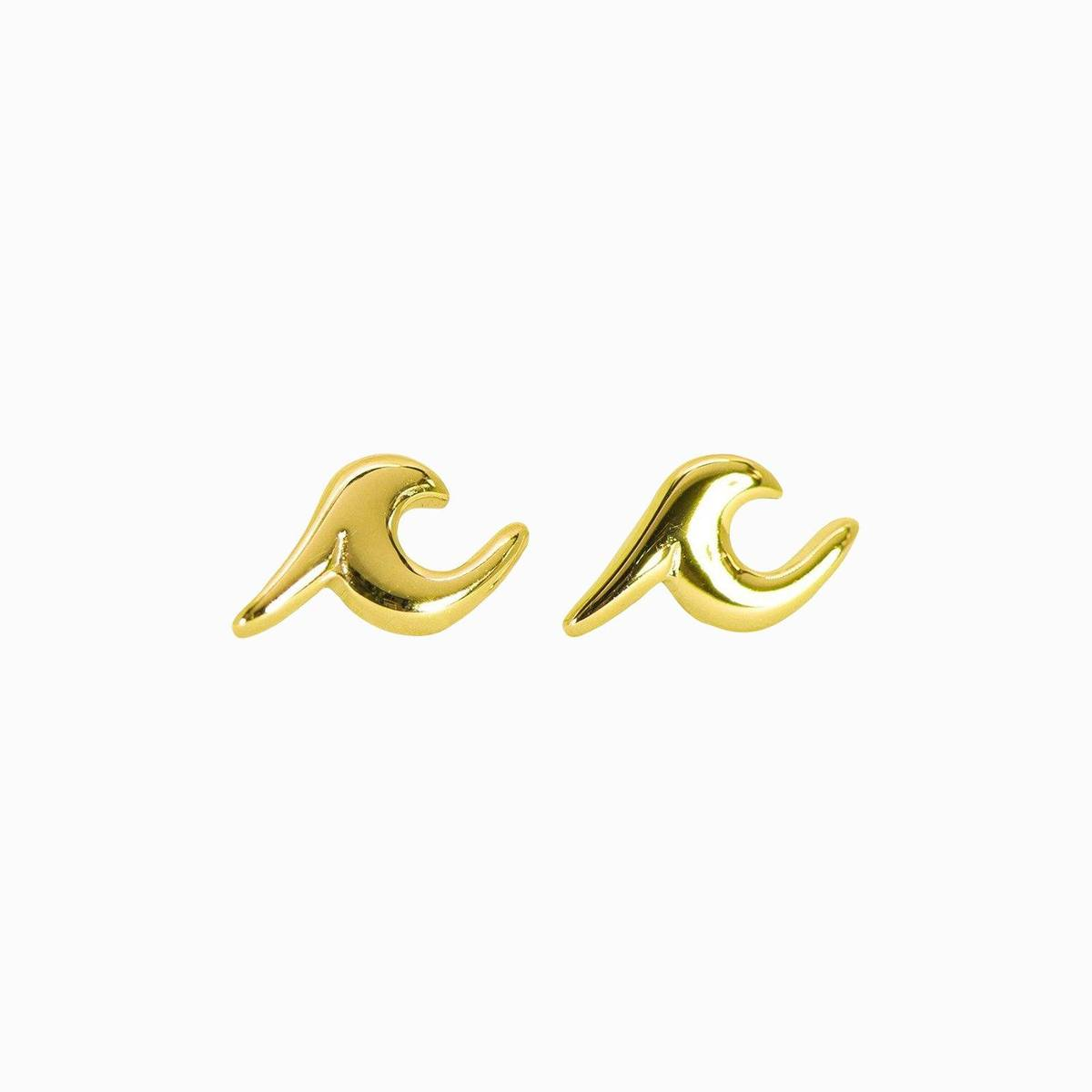 Wave Stud Earings | Gold