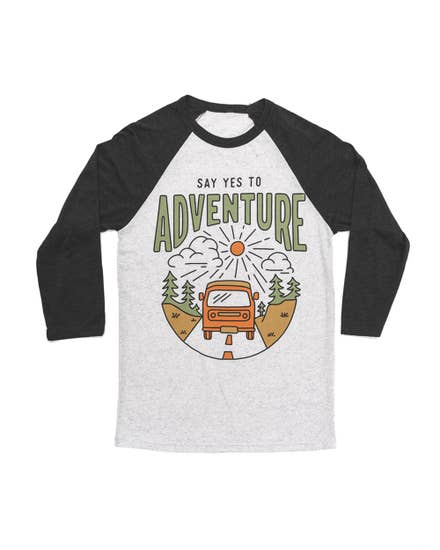 Say Yes To Adventure Unisex 3/4 Tee | Charcoal