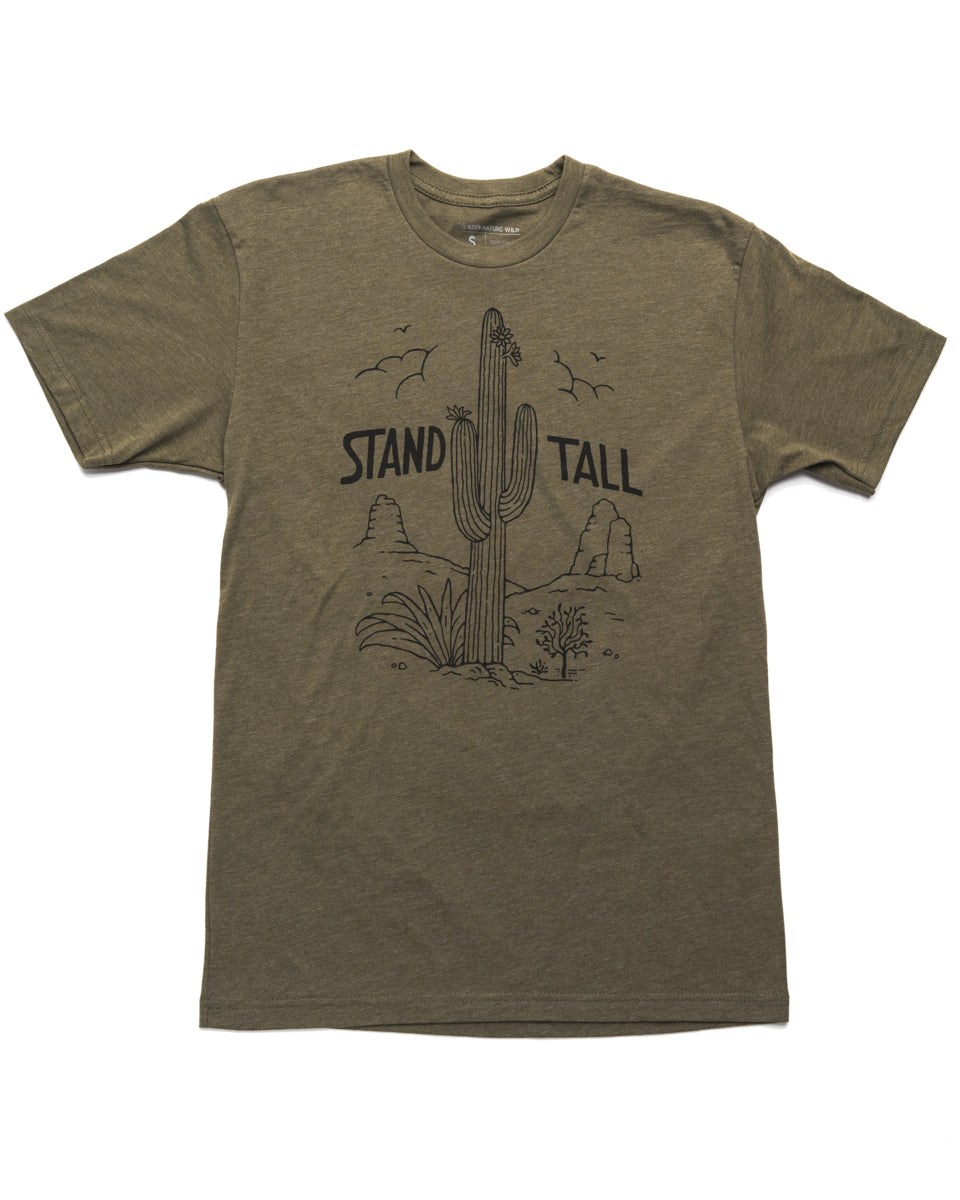 Stand Tall Cactus Unisex Tee | Army