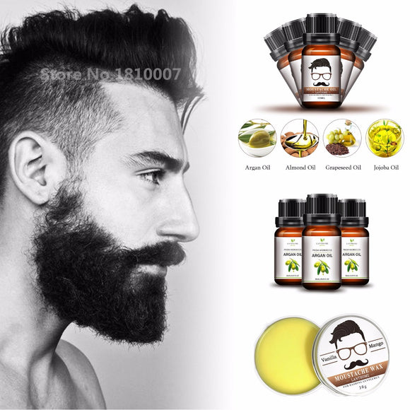 Premium Grooming Lanthome Moustache Wax, Beard Oil & Argan Oil - Grooming Kit Beard Balm for styling hair moisturizing smoothing