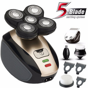 5in1 wet/dry grooming kit, 5 blade rechargeable beard & nose Shaver  for men.