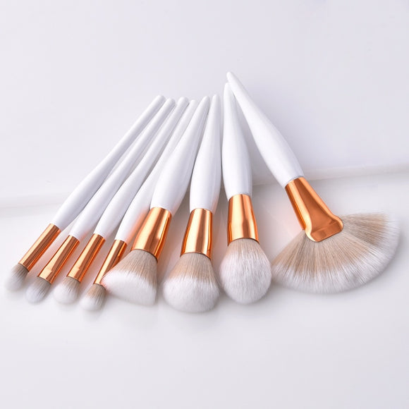 8 pcs/ makeup brush set soft synthetic head and wood handle brushes