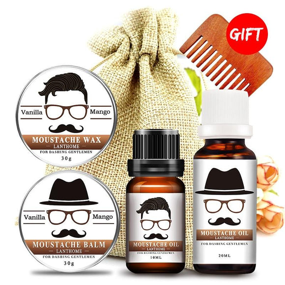 BellyLady Male Beard Care Set Beard Wax Beard Comb & Storage Bag Moustache Beard Oil Kit