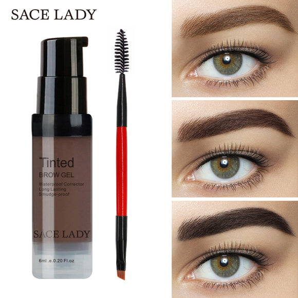 SACE LADY Eyebrow Gel Tint in 6 Colors with  Make Up Pomade brush kit