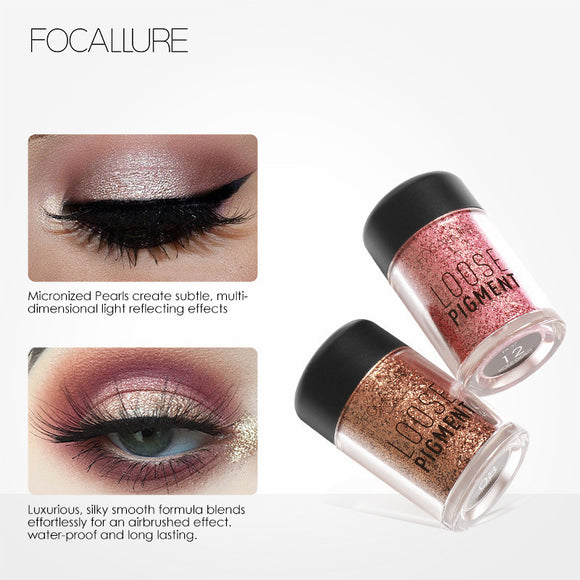 FOCALLURE 18 Colors Glitter Cosmetic Makeup Diamond Lips Loose Makeup Shimmer Pigment Powder Cosmetics for Make Up