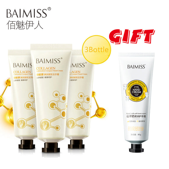 Buy 3 get 1 gift BAIMISS Collagen Firming Hand Cream 3pcs + Goat Milk Essence Hand Cream Nourishing SkinCare Anti Chapping