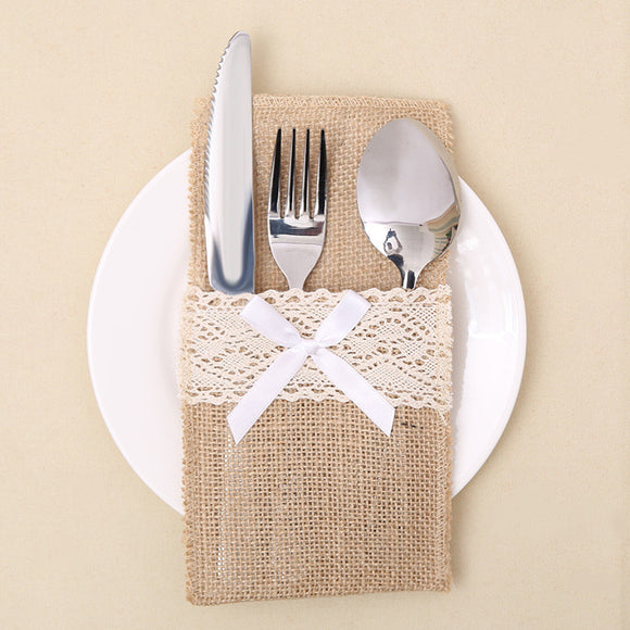 2pcs Linen Burlap Lace Tableware Cutlery Pocket New Christmas Knife and Fork