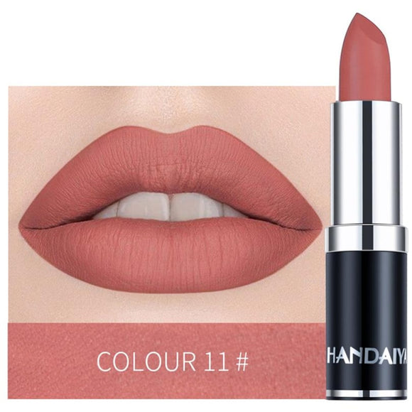 1PC Nude Waterproof professional Lipstick,Matte Pumpkin Color, with Vitamin E Moisturizer