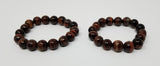 Brilliant Red Tigers Eye - set of two