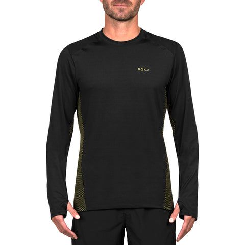 Men's Elite All-Season Run LS Shirt (Black/Acid Lime)