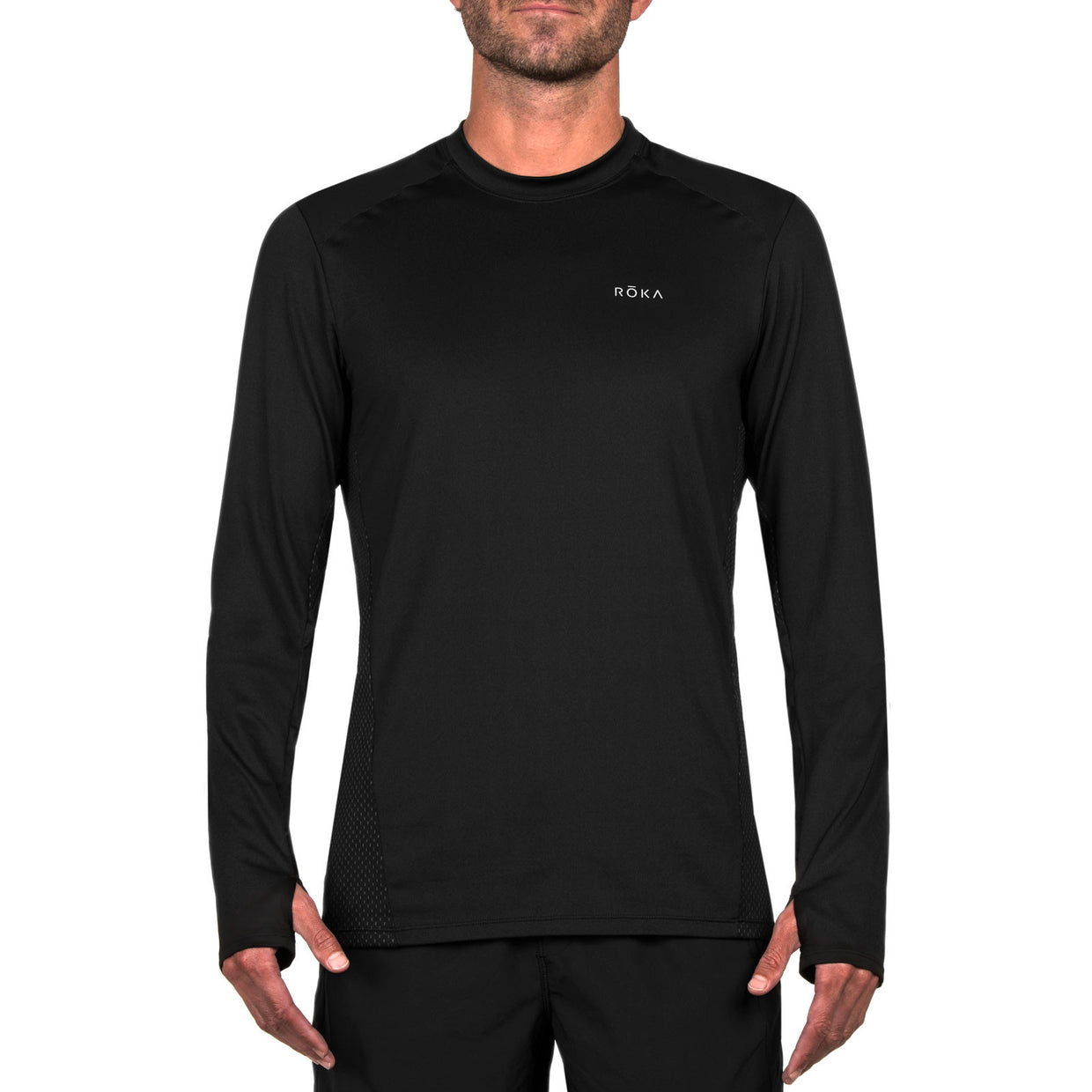 Men's Elite All-Season Run LS Shirt (Black/Dark Slate)