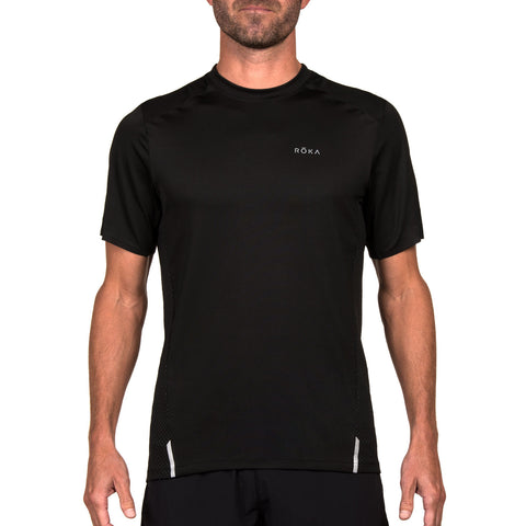 Men's Elite All-Season Run SS Shirt (Black/Dark Slate)