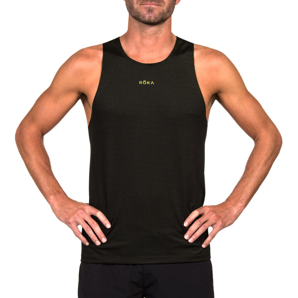 Men's Elite Race Run Singlet (Black/Acid Lime)