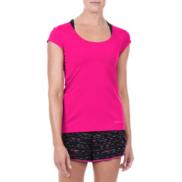 Women's Elite All-Season Run Cap Sleeve Shirt (Magenta)