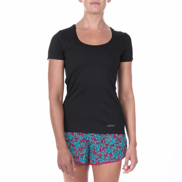 Women's Elite All-Season Run SS Shirt (Black/Magenta)