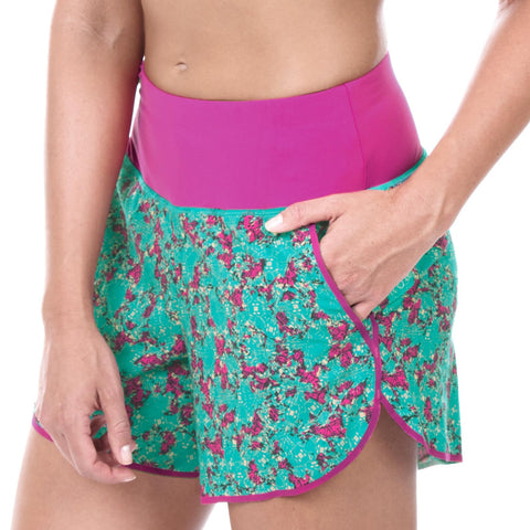 "Women's Elite 5"" Run Short (Abstract Floral Magenta)"
