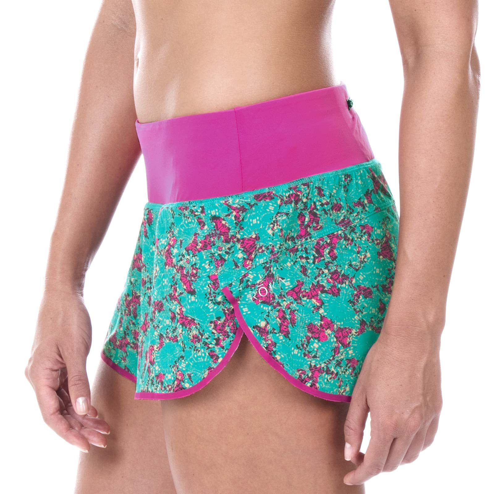 "Women's Elite Run 3"" Low Rise Split Short (Abstract Floral Magenta)"