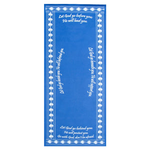 Blue Christian yoga mat with prayer of inspiration