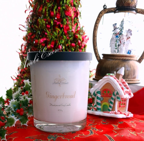 AmbiEscents Gingerbread container candle, christmas tree, snow globe, gingerbread house
