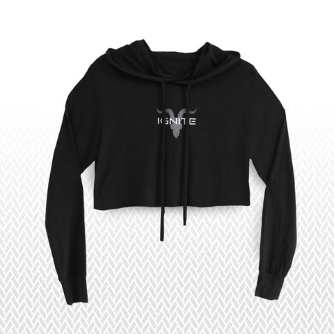 Ignite Premium Collection Ladies Black Cropped Hoodie