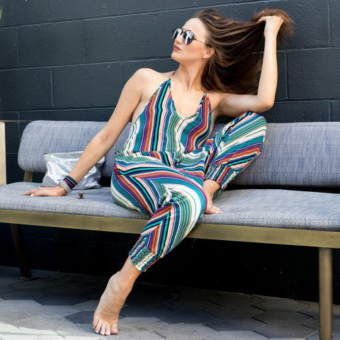 Striped Harem Jumpsuit | Buddha Pants Canada