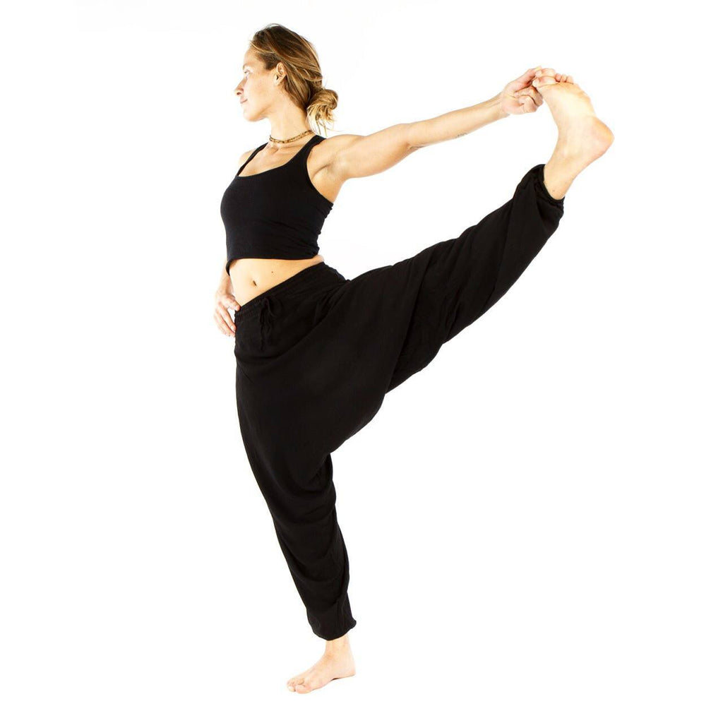 Black Summer Flair Harem Pants by Buddha Pants® - Yoga pants