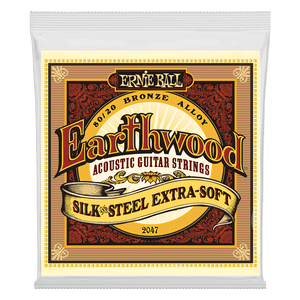 Ernie Ball EARTHWOOD SILK & STEEL EXTRA SOFT 80/20 BRONZE ACOUSTIC GUITAR STRINGS - 10-50 GAUGE