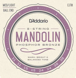 d`Addario EJ70 Ball End Mandolin Strings