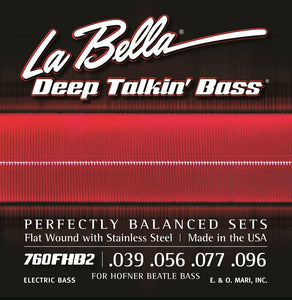 LaBella Hofner Flat Wound Beatle Bass Strings .039-.096