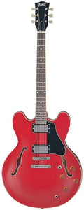 Burny RSA-70 CR Electric Semi Hollow Guitar in Cherry Red.