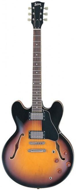 Burny RSA-70 BS Electric Semi Hollow Guitar in Brown Sunburst