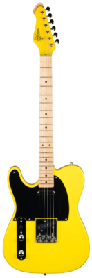 Revelation Guitars Vibrant Series RVT/LH Left handed Electric Guitar in bright Yellow. Matching headstock.