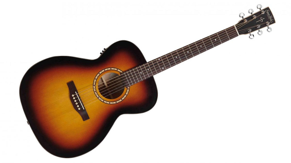 Simon and Patrick Songsmith Series Concert Hall Body with Solid Spruce Top and Red Wild Cherry Back and Sides, Featuring B-Band A3T Tuner, Semi-Gloss Sunburst Finish