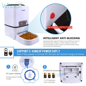 Automatic 6L Pet Feeder With Voice Recording and LCD Screen