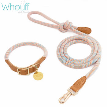 Cow leather & climbing rope collar + leash