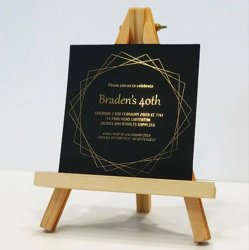 40th birthday invite with gold digital foiling