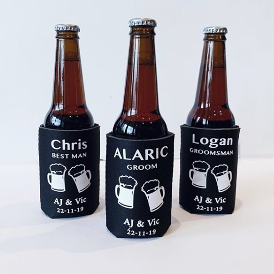 Customised stubby holders for groomsmen gifts