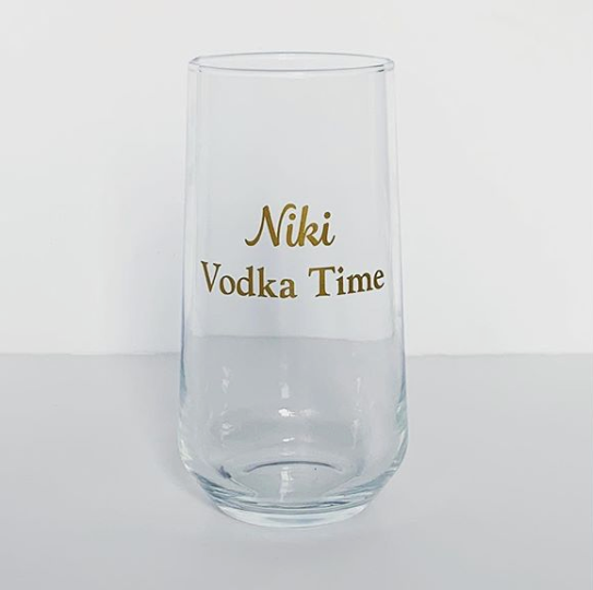 Customised tumbler glass with gold vinyl application