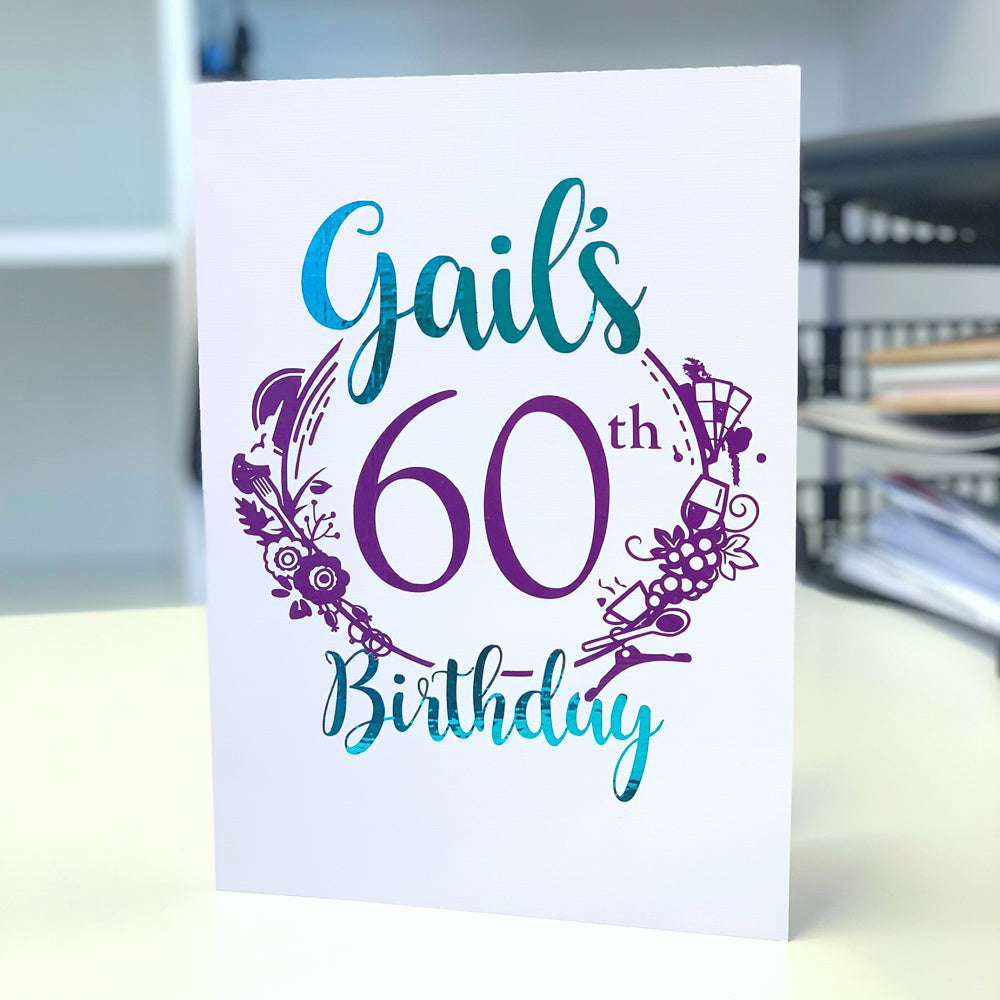 80th Birthday Card with green and purple foil