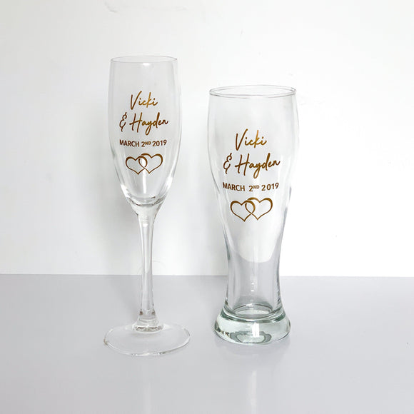 Bride and Groom's Glass Set