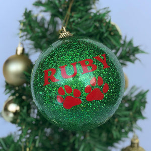 Customised Bauble - Green Glitter-Christmas-The FoilSmith