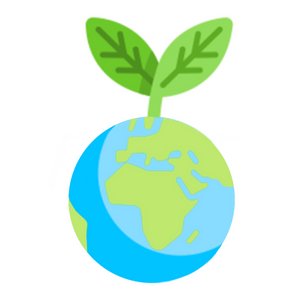 plantworld_au logo. A cartoonist depiction of planet Earth, sprouting a stem with two leaves on the top.